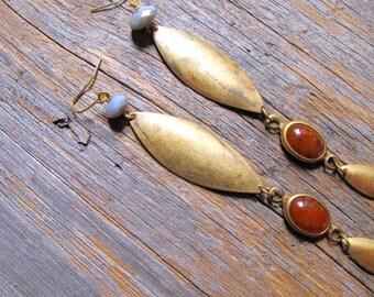 Long Brass Charm Earrings, Mint Green Dangle Earrings, Brass and Bead Statement Earrings, Long Beaded Boho Dangle Earrings