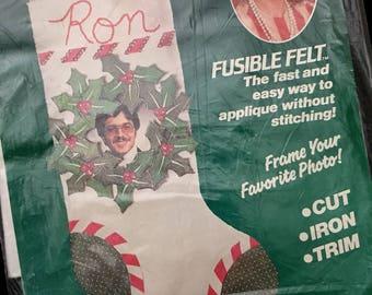 CHRISTMAS STOCKING Kit Vintage Felt Appliqué ~ RARE Erica Wilson Stacy Fabric Kit 7011