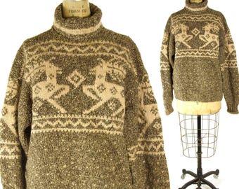 90s Ralph Lauren Sweater / Vintage 1990s Deer Fair Isle Pullover Turtleneck / Rustic Wool Hippie Boho Winter Blanket Sweater / Large