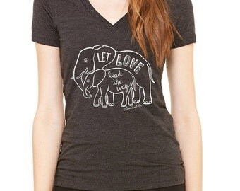 Elephant Love Women's Tee Shirt, Hand Printed Cotton Blend, Crew Neck, Vneck, Charcoal Grey, Lead with Love, Mother & Baby, Gift for Women