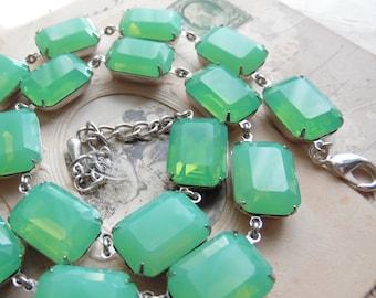"light green statement necklace, sea foam green necklace, collet necklace, Anna Wintour necklace, edwardian jewelry. ""Chalcedony"""