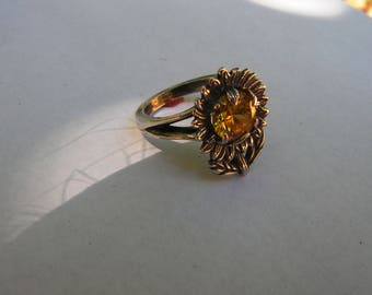 Sunflower Ring Sterling Silver With Citrine