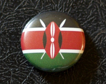 "1"" Kenya flag button, country, pin, badge, pinback, Made in USA"