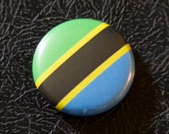 "1"" Tanzania flag button, country, pin, badge, pinback, Made in USA"