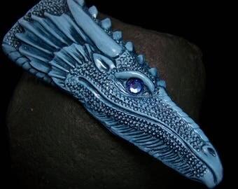 Blue Dragon Head Cabochon Face Cab polymer clay with Sapphire Swarovski Crystal Eye