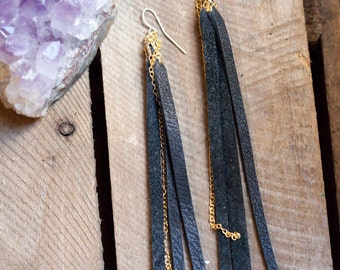 leather earrings - black leather tassel and chain