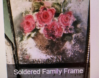 Terri Brush Soldered Family Frame Workshop Glass Set (4) 4 x 4 Flat Glass, (4) 2 x 4 Bevels, (12) 1 x 1 flat glass & (4) 1 x 3 House Glass