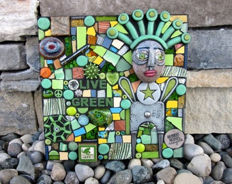 Live Green. (Handmade Original Mixed Media Mosaic Assemblage Wall Hanging by Shawn DuBois)