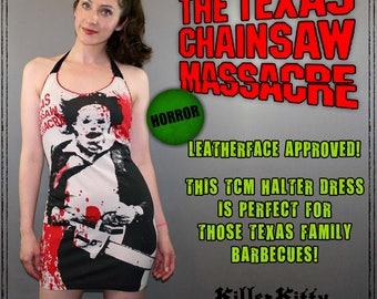 Texas Chainsaw Massacre Leatherface Halter Dress Shirt Top Horror Movie Halloween Goth Occult Diy Rocker Psychobilly Screenprint