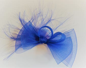 Royal blue crinoline bow fascinator on a clip. Royal blue clip.  Navy fascinator.  Cobalt blue fascinator.  Ascot.  Weddings