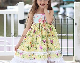 Yellow floral dress, romantic chic sundress, shabby twirl dress, pink blue yellow birthday girl dress, flower girl dress, Easter tea party