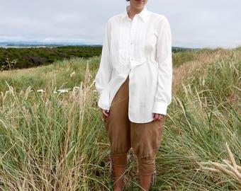 1940s Men's Voile Stripe White Dress Shirt 15 35
