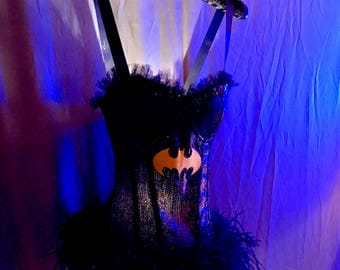 Bat Girl - A Hand Made Tramp Lamp crated from a fully Sequined Corset trimmed in black ostrich feathers and black toile at the bust line