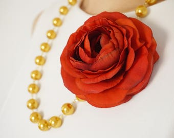 Statement Necklace Red Orange Flower Necklace Gold Necklace Pearl Necklace Pearl Jewelry Bridal Jewelry Bridal Necklace Gold Jewelry Gift