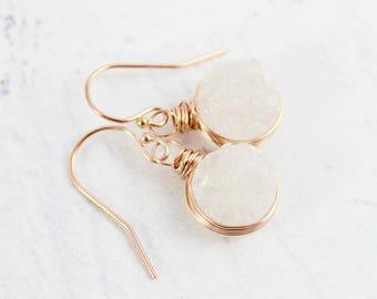 Rose Gold Bridal Earrings, White Wedding Earrings, Bride Earrings, White Druzy Earrings, Small Dangle Earrings, Wire Wrap Earrings