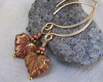Bronze Maple Leaf Earrings Almond-Hook Gold Handmade Earwires Rose Brown Picasso Luster Glass Wire Wrapped Autumn Leaves