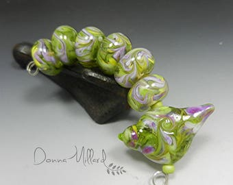 Artisan Lampwork Beads Handmade DONNA MILLARD lampwork bracelet lampwork necklace lampwork earrings sparrow bird lime green purple sra