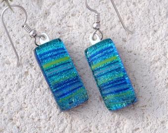 Petite Blue Dichroic Earrings, Dichroic Jewelry, Dangle Drop Earrings, Fused Glass Earrings, Stering Silver Earrings, Ccvalenzo, 061117e104