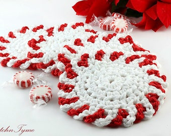 Peppermint Candy Holiday Coasters, Candy Cane Beverage Coasters