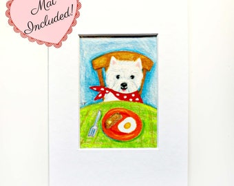 Original Westie Drawing Miniature illustration West Highland Terrier dog art colored pencil sketch by Tascha ACEO small art with mat