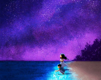 "Galaxy art, Galaxy wall art, Bioluminescent - ""Illuminated"""