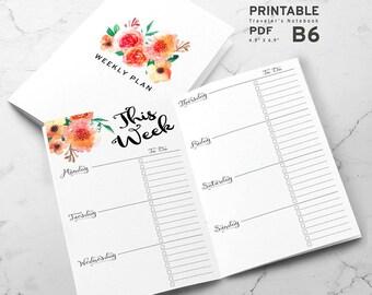 Printable B6 Insert - B6 Travelers Notebook Insert - B6 weekly insert, Weekly Traveler's Notebook Insert - Watercolor Flower