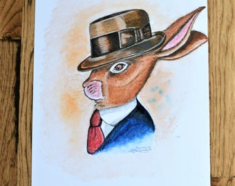 Original, Rabbit Painting, Bunny Painting, Bunny Watercolor, Bunny in Clothes, Bunny in Fedora, Bunny Rabbit Art, Rabbit Watercolor,Adorable