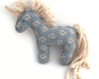 Ivory Mane Blue Unicorn - Recycled Wool Sweater Plush Toy