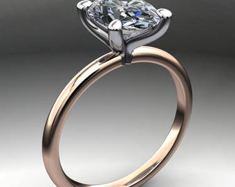 naked shay ring - 2 carat oval NEO moissanite engagement ring, two tone