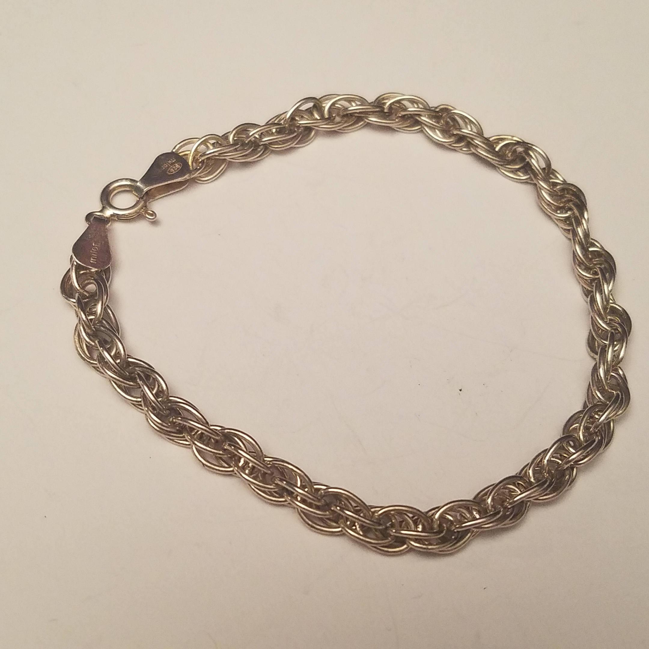 Silver Rope Bracelet: Vintage Milor Sterling Silver Bracelet Twisted Rope 925 Italy