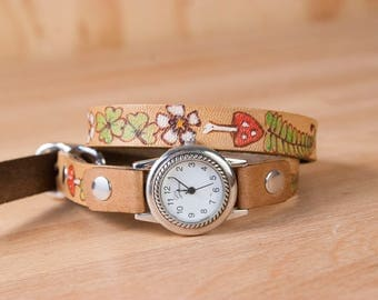 Wrap Watch - Leather Womens Bracelet Watch in the Ronja pattern with shamrocks, ferns, mushrooms - Antique Brown
