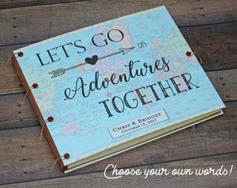 Our Adventure Book Travel Album Scrapbook - Gift for Husband, Gift for Wife, Gift for Fiance -  Wedding Guest book - Honeymoon Scrapbook