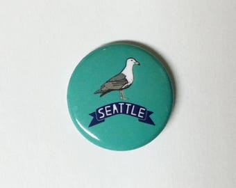 Seattle Washington Seagull  1 inch Button Pin