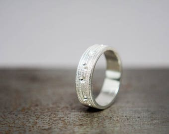 Size 9 Textured Silver Ring Band, Ready to Ship Jewelry Gift