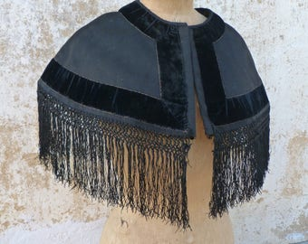 Vintage Antique 1890/ 1900s Victorian French cape /black wool velvet macrame silk fringes /capelet/Matinée size free