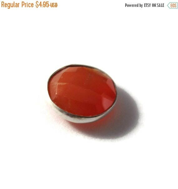 SALE 50% off - NON DRILLED Chalcedony Stone, Bezel Set Orange Gemstone, Silver Plated Bezel, Jewelry Supplies, 13mm Stone (C-Ra3a)