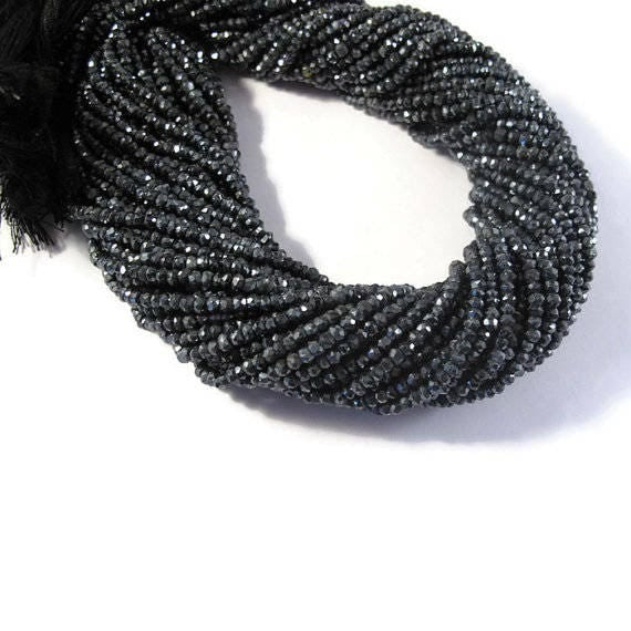 Mystic Black Spinel Rondelles, Tiny 3mm Gemstone Beads, 6.5 Inch Strand, Faceted Necklace Rondelles, Black Diamond Substitute (R-Sp2)
