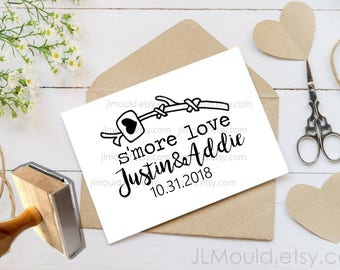 Custom Rubber Stamp Return Address Smore S'mores S'more Wedding Favors name Personalized rubber stamp Return Address Stamp JLMould 1077