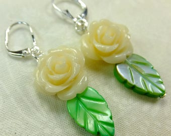 Rose Lover Earrings Cream White Resin Rose Beads with Green Leaf Shell Beads Dangle Lever Back Ear Wires
