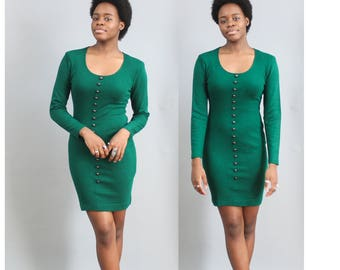 1980's Textured Ribbed Bodycon Dress in Forest Green Size Small 4 Body Con long sleeves cactus costume sexy christmas 80s