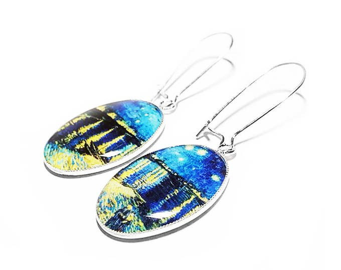 Van Gogh Starry Night Over the Rhone, Dangle Earrings, Handmade, Resin Earrings, Vincent Van Gogh Starry Night, Gift for her, Blue Earrings