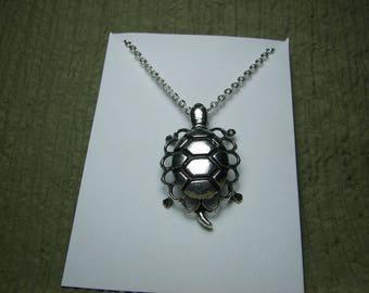 Silver Sea Turtle Filigree Necklace