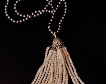 Silver Beaded,Brown leather Tassel Necklace