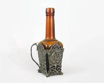 Vintage Maggi Bottle and Metal Holder - Amber Glass Bottle - Collectible Bottle - Vintage Kitchen Decor - Colored Glass Bottle