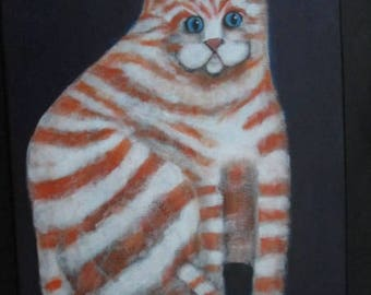 Original Blue Eyed Ginger Tabby Chubby  Kitty Cat Portrait painting  11 by 14 by Ellen Haasen