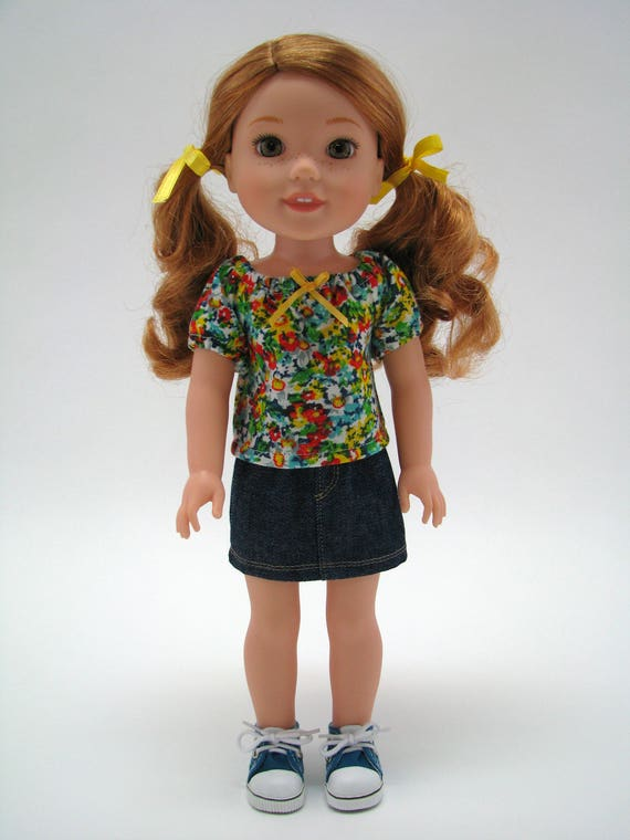 """Fits Like Wellie Wisher - 14 Inch Girl Doll Clothes - Doll T-Shirt - 14"""" Doll Top  - Flower Doll Top - A Doll Boutique - American Handmade"""