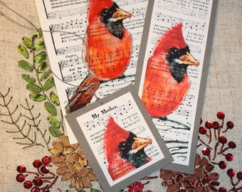 MY MOTHER RED Cardinal Bird  lovely  Art Print + bookmark + tag  Religious Hymn 4x6, 5x7, or 8x10  F R E E  Shipping