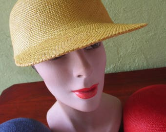 Loro Piana Italy Visor Cap Sunny Yellow Sisal Straw Hat Sun