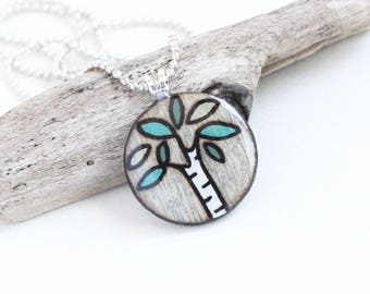 Tiny Birch Tree Necklace, Small Simple Wood Pendant, Wood & Epoxy Resin, Wood Burned Artisan Jewelry, Comfortable Lightweight Necklace