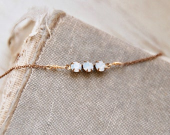 Three stone white opal choker necklace,layering necklace,short necklace,opal jewelry,simple necklace,minimalist necklace, opal necklace